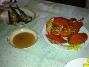 Breakfast of dried fish and crabs