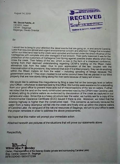 letter to DENR